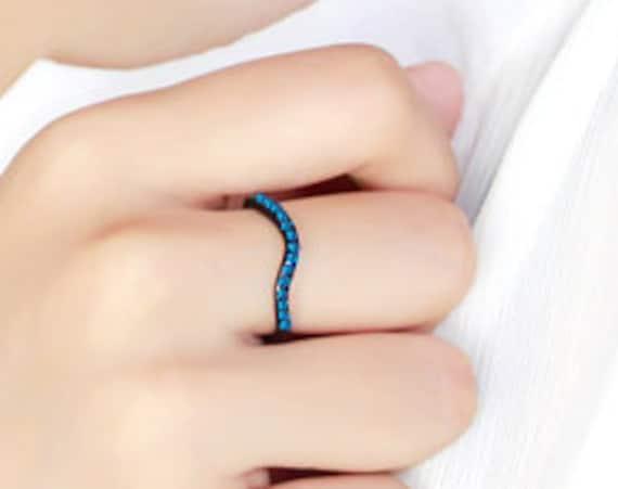 Stainless Steel Ring IP Black(Ion Plating) Women Top Grade Crystal Blue Zircon