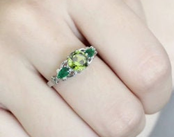 Stainless Steel Ring No Plating Women Synthetic Peridot
