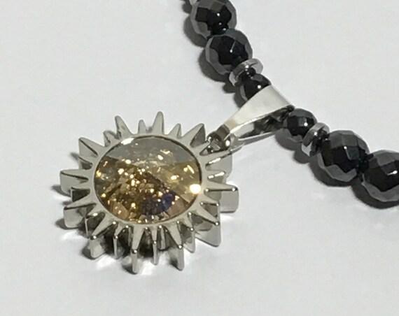 Swarovski Sunburst Necklace, High Power Magnetic Hematite Therapy Necklace, High Power Magnetic