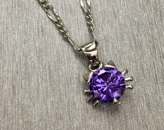 Swarovski Amethyst Crystal Cat Pendant Necklace on Sterling Silver Filled Chain, Lifetime Guarantee on chain