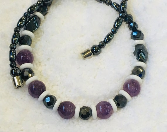 Amethyst Strong Magnetic Hematite Therapy Necklace