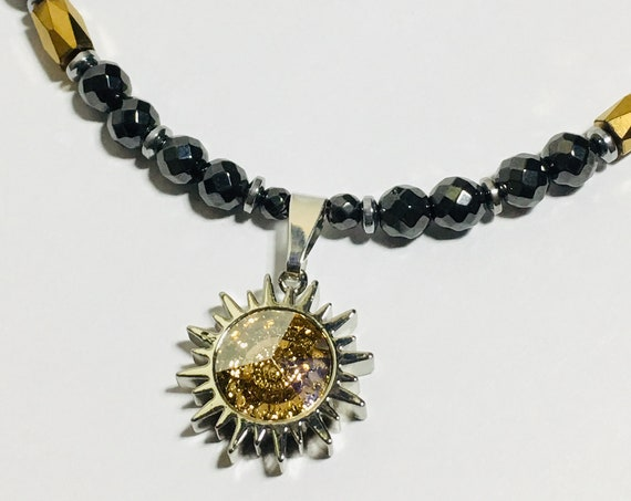 Swarovski Sunburst Necklace Strong High Power Magnetic Hematite Therapy
