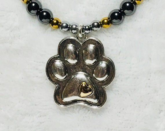 Paw Print High Power Magnetic Hematite Necklace