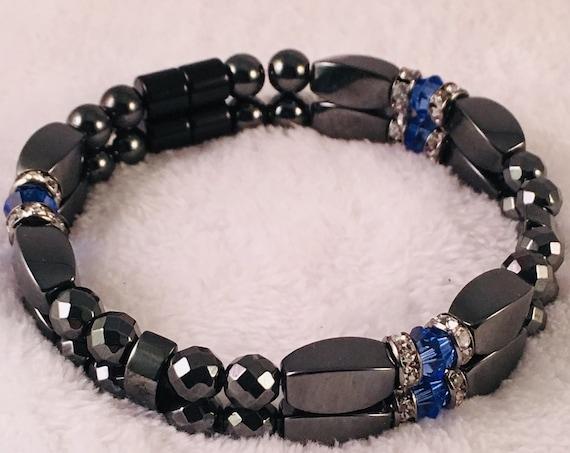 Strong High Power Magnetic Hematite Bracelet, September Swarovski Crystal Sapphire Birthstone Bracelet