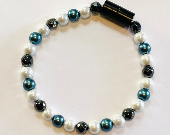 Strong Magnetic Hematite Therapy Anklet or Bracelet Turquoise White