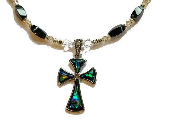 Abalone Shell Cross Magnetic Hematite Necklace