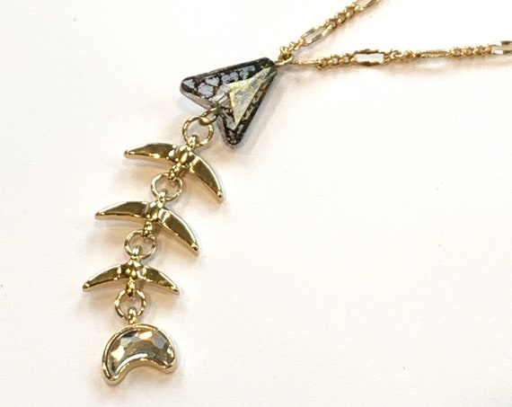 Swarovski Fish Pendant Necklace on Gold Filled Figaro Chain, Swarovski Christian Fish, Lifetime Guarantee on chain