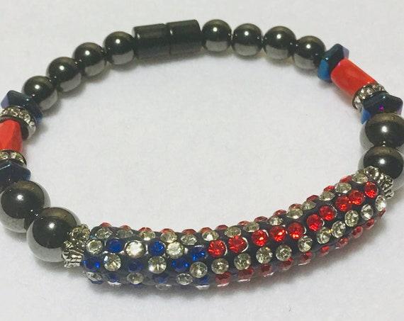 Magnetic Hematite Bracelet - USA bracelet - High Power Magnetic
