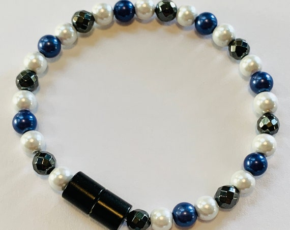 Strong Magnetic Hematite Therapy Anklet or Bracelet Purple White