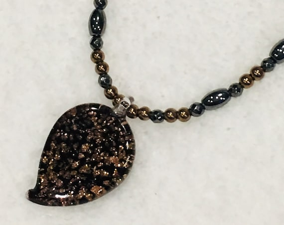 High Power Strong Magnetic Hematite Therapy Necklace Copper Glass Leaf