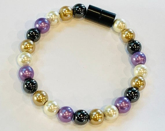 Strong Magnetic Hematite Therapy Anklet or Bracelet Purple Gold White