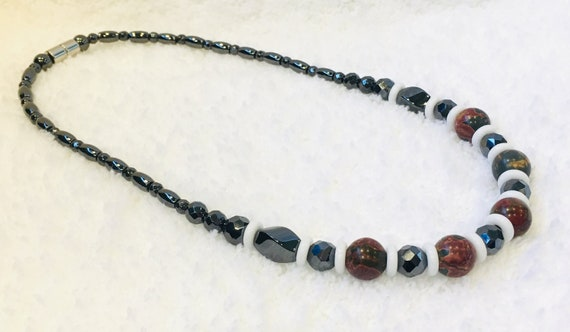 Unakite Jasper Strong Magnetic Hematite Therapy Necklace