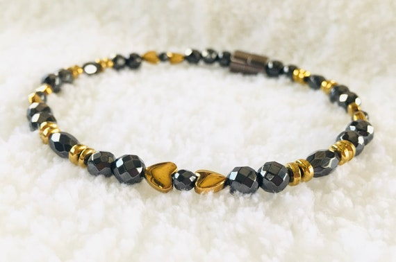 Faceted Gold Heart High Power Magnetic Hematite Therapy Anklet, Bracelet, Necklace