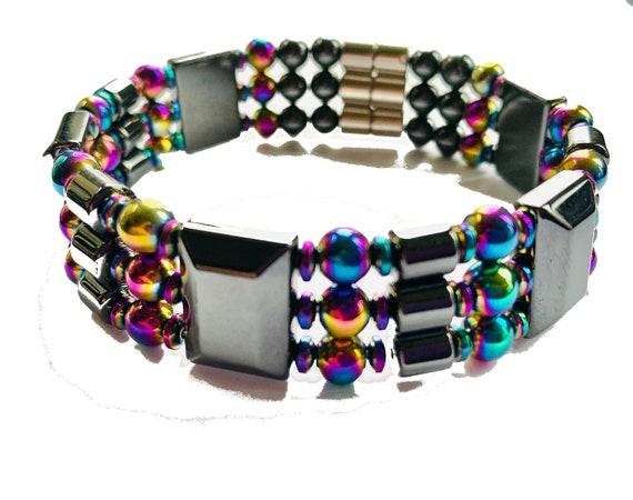 Magnetic Hematite Therapy Bracelet, Rainbow Hematite Bracelet, High Power Magnetic