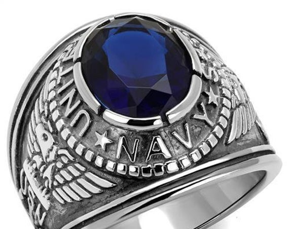 Navy Stainless Steel Ring High polished (no plating) Men Synthetic Sapphire