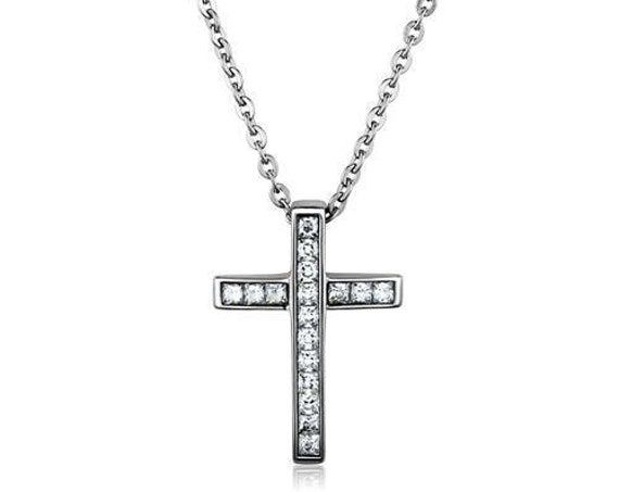 Stainless Steel Chain Pendant High polished (no plating) Women AAA Grade CZ Clear