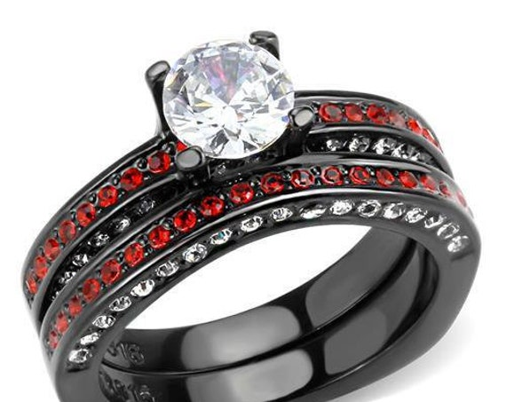 Stainless Steel Ring IP Black(Ion Plating) Women AAA Grade CZ Clear