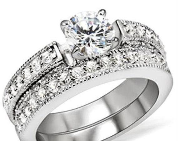CLEARANCE Brass Ring Rhodium Women AAA Grade CZ Clear