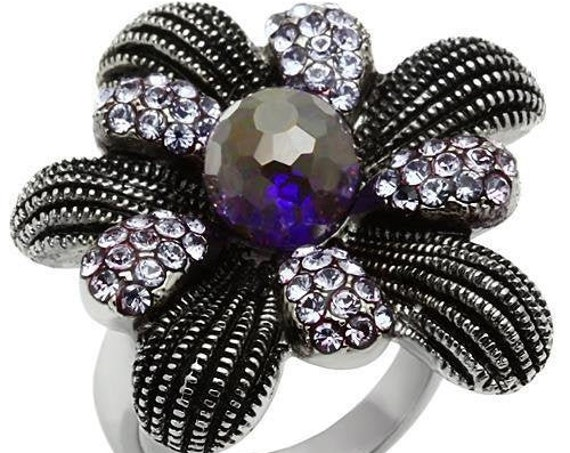 Stainless Steel Ring High polished (no plating) Women Synthetic Amethyst