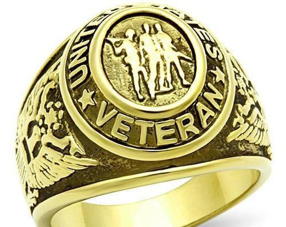 Veteran Stainless Steel Ring IP Gold(Ion Plating) Men Epoxy Jet