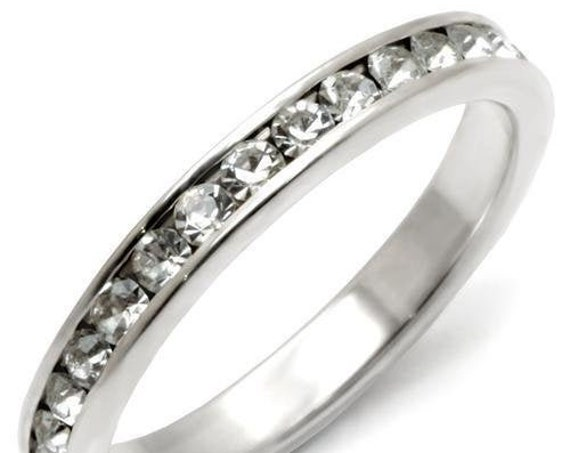 925 Sterling Silver Ring High-Polished Women Top Grade Crystal Clear