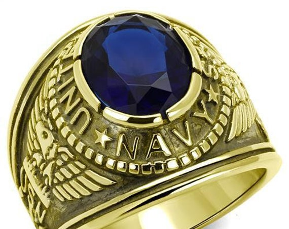 Navy Stainless Steel Ring IP Gold(Ion Plating) Men Synthetic Montana