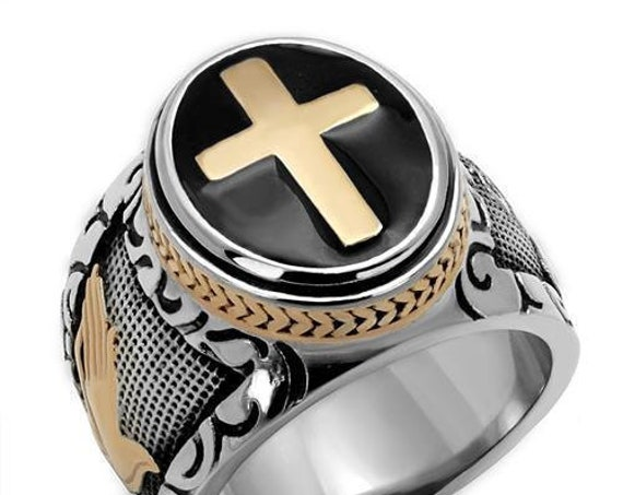 Christian Stainless Steel Ring Two-Tone IP Rose Gold Men Epoxy Jet