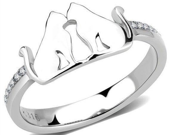 Stainless Steel Ring No Plating Women AAA Grade CZ Clear