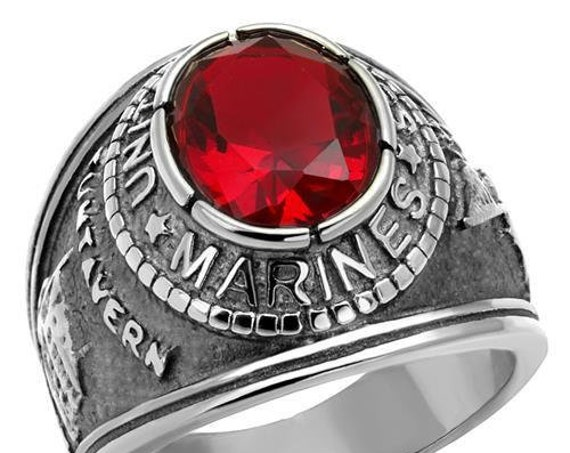 Marines Stainless Steel Ring High polished (no plating) Men Synthetic Siam