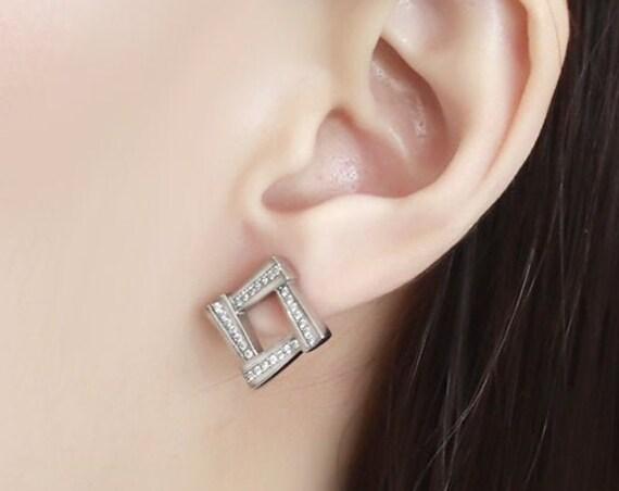 Stainless Steel Earrings No Plating Women AAA Grade CZ Clear