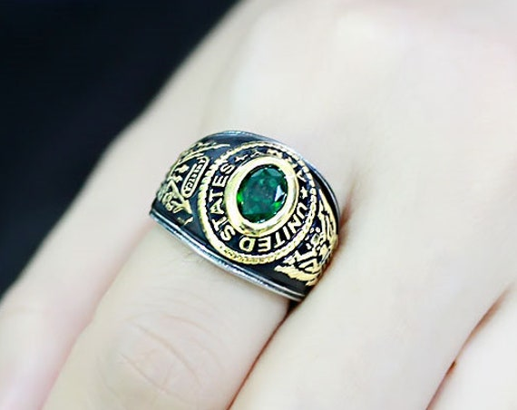 Stainless Steel Ring Two-Tone IP Gold (Ion Plating) Unisex Synthetic Emerald