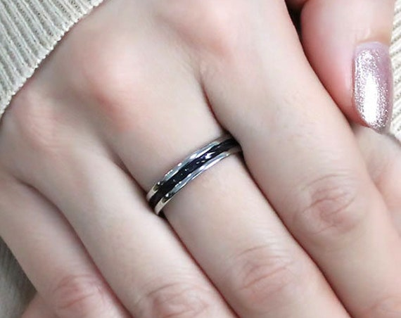 SALE Stainless Steel Ring Two-Tone IP Black (Ion Plating) Women