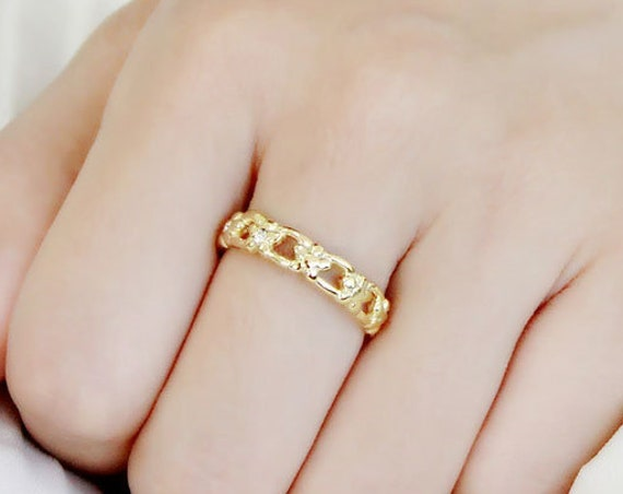 Stainless Steel Ring IP Gold(Ion Plating) Women Top Grade Crystal Clear