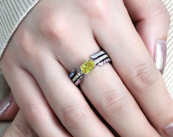 Stainless Steel Ring High polished (no plating) Women AAA Grade CZ Topaz