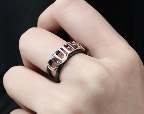 Stainless Steel Ring IP Rose Gold+ IP Black (Ion Plating) Women