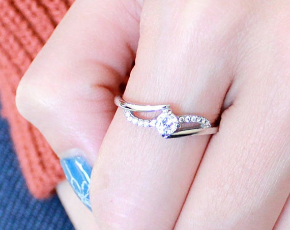 Stainless Steel Ring High polished (no plating) Women AAA Grade CZ Clear