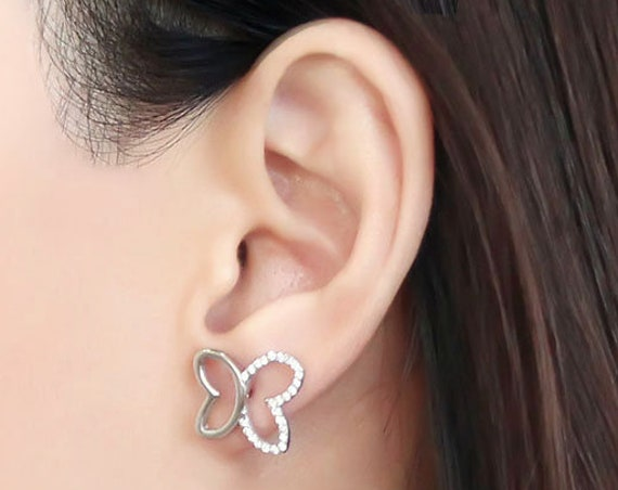 Stainless Steel Earrings High polished (no plating) Women AAA Grade CZ Clear