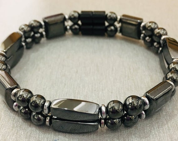 Strong Magnetic Hematite Therapy Bracelet, Black Magnetic Bracelet, High Power Magnetic