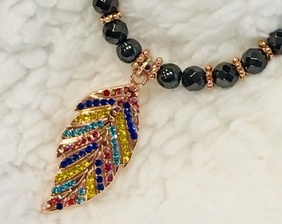 Strong High Power Magnetic Hematite Therapy Necklace Rose Gold Multi Color Leaf