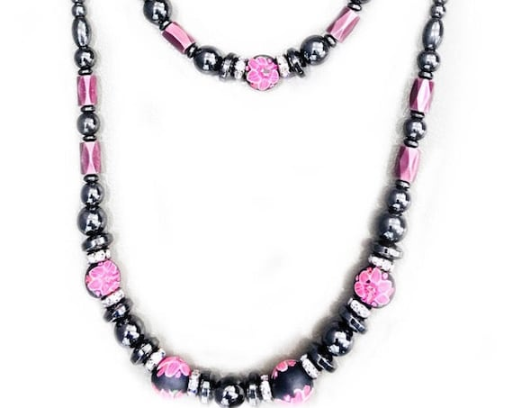 Pink Floral Magnetic Hematite Necklace and Bracelet Set High Power Magnetic