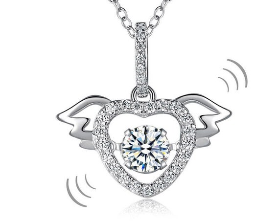 Heart Angel Wing Dancing Stone Pendant Necklace 925 Sterling Silver