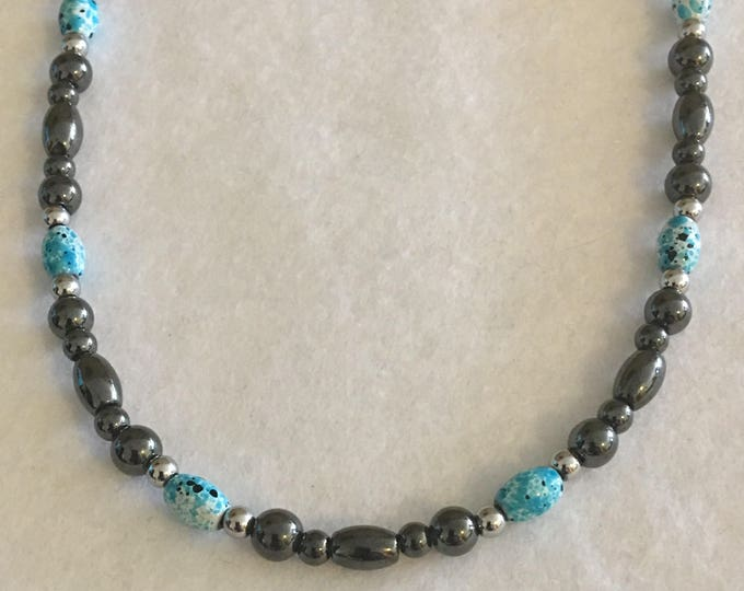 Turquoise, Silver and Black High Power Magnetic Hematite Therapy Necklace