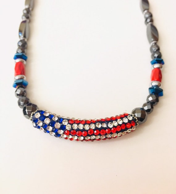 American Flag Magnetic Hematite Necklace, Strong Magnetic