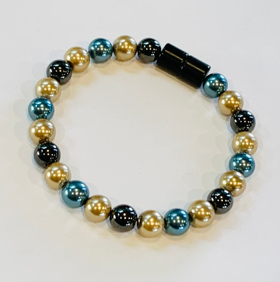 Strong Magnetic Hematite Therapy Anklet or Bracelet Turquoise Gold