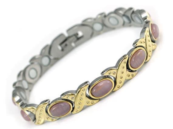 Women Stainless Steel Magnetic Health Pink Cat Eye Stone Bracelet