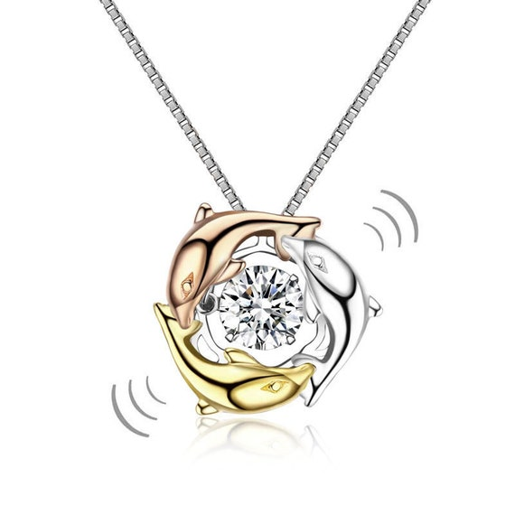 Dolphins Dancing Stone Pendant Necklace 925 Sterling Silver