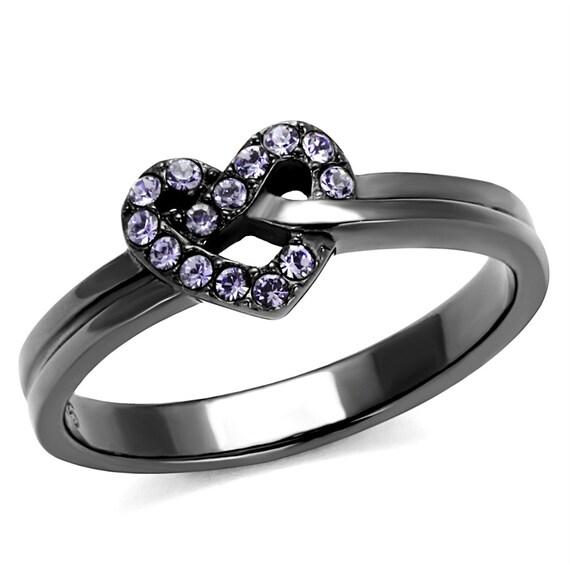 Stainless Steel Ring IP Light Black (IP Gun) Women Top Grade Crystal Light Amethyst