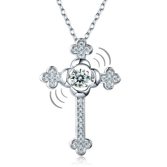 Dancing Stone Cross Pendant Necklace 925 Sterling Silver Vintage Style Gothic