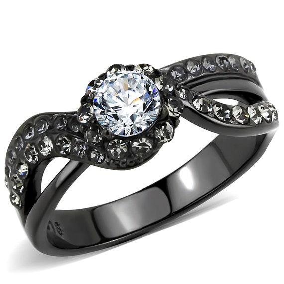 Stainless steel ring IP light black women AAA grade CZ clear