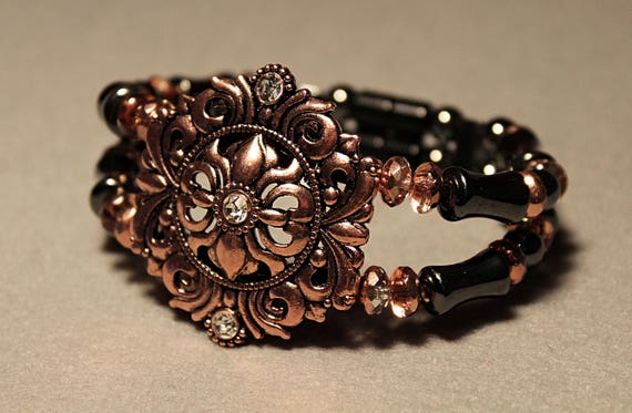Magnetic Hematite Therapy Bracelet, Black and Copper Shield